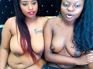 Ebony Lesbian Vibrator Screwing Other Lesbian Hard