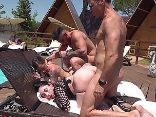 Bitches modulation partners in dirty foursome by make an issue of pool