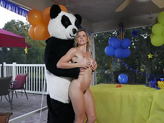 Strong Panda bear fucks this MILF in merciless ways