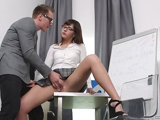 Secretary Katty Blessed drops out of reach of her knees to please her boss