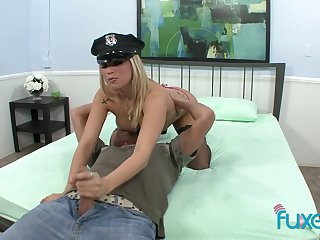 Before brill load of shit busty blonde cop keeps jerking dude's load of shit to a great extent