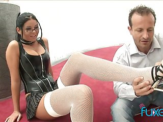 Domineer nerdy bitch jams fat boobs as her soaked pussy is licked