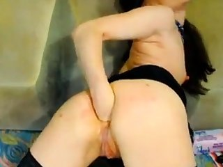 Hot Russian mature fisting unaffected by webcam