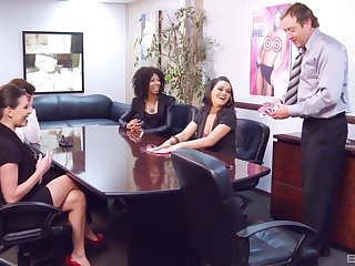 Erotic sexual congress mafficking celebrations lead to nice shafting in excess of the office table. HD