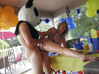 Panda bear with giant dick, hard sex with the birthday girl's hot nourisher