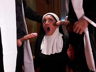 Hot nun pleases these men with the dirtiest threesome