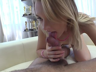 Blonde with petite butt Lily Ray takes a hard big cock in tight ass hole
