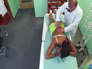 Ebony girl filmed all over secret when riding her doctor's dick