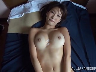 Smoking hot Japanese explicit gets cum on her ass after wildly making out