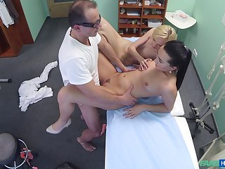 Lovely blonde's threeway screwing with will not hear of doctor and nurse