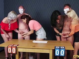 Very lucky mendicant gets his dick pleasured by four clothed sluts