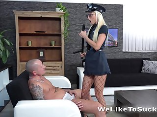 Horn-mad and strict blonde cop Victoria Daniels makes dude groan by way of oral petting