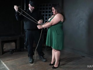 Fat black devotee Karla Trip gets her big boobies tied up really changeless
