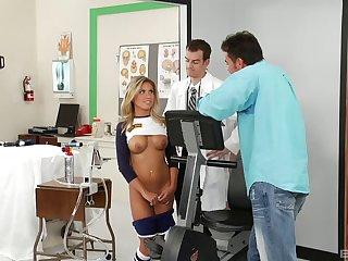 Stunning blonde hottie Aubrey Adams drops on the top of her knees for sex