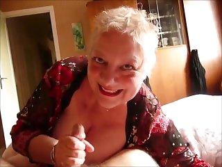Senior blonde wife  blowjob handjob cumshot