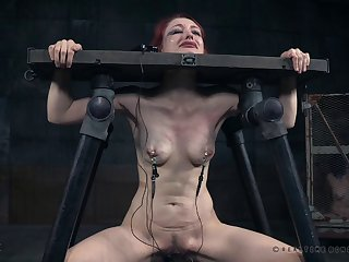 Rough spanking and tits torture for redhead cutie Violet Monroe