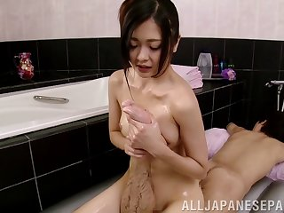 Oily nuru massage leads to passionate dealings with sexy Aisa Fujii