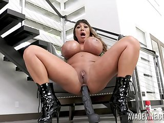 Jumbo breasted whore Ava Devine loves persiflage herself at home