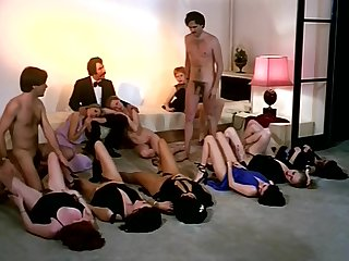 Vintage sexual connection orgy action with horny company of girls