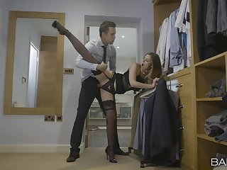Lingerie belle fucked in the dressing enclosure added involving made involving swallow