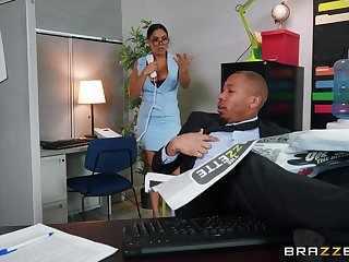Wild action onwards office between a thick babe and a Negro blot out
