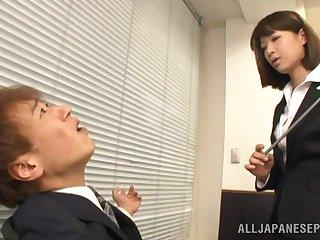 Skinny ladies' with a stiff dick fucks cock hungry secretary Mayu Kamiya