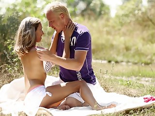Sweet blonde handles the fat and juicy dick while out camping