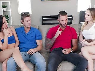 Skinny sluts Anna Claire Clouds and Jazmin Luv have a foursome
